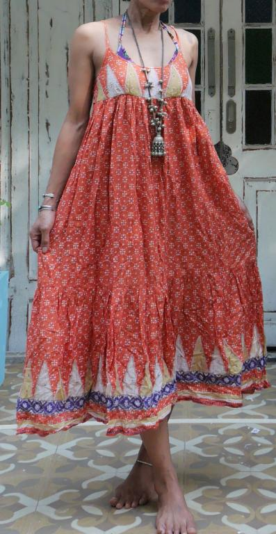 da66920bb7 Original Vintage 70's an indian cotton gauze bohemian hippie maxi sun dress.  Made from 100% cotton, with U front neck, an elasticated at the back, ...