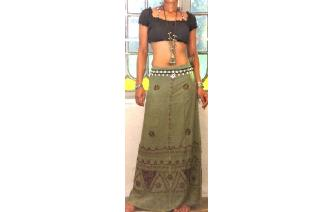 9323aa548 It is a funky wraparound, bohemian ethnic hippy skirt, made from rayon with  embroidered all over this skirt and patchwork all around ...