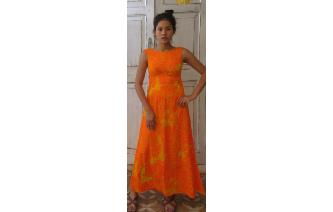 120beffbe691 This is original 1960 s - 1970 s vintage colorful hawaii maxi dress. Made  from 100% acrylic. U neck at front and back