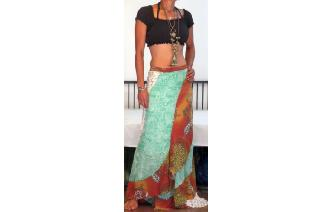 6d152fbfa It is a funky wraparound, bohemian ethnic hippy patchwork paneled maxi  skirt, made from chiffon. Its a wraparound skirt would fits many ...