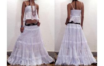 GYPSY BOHO HIPPY WHITE LACE HIPPIE TIERED SKIRT Image