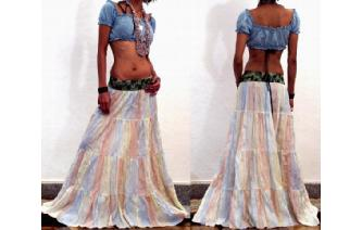 GYPSY BOHO HIPPY CRINKLE TIERED HIPPIE SKIRT S15 Image