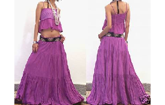 URBAN TIERED HIPPIE SKIRT lilac Image