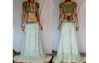 GYPSY ETHNIC RAYON LACE FLARED BOHO SKIRT TALL S25 Image