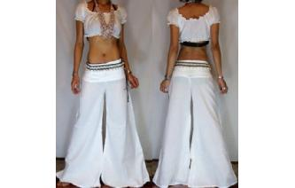 HIPPIE BOHO ETHN WHITE LOWRISE PANTS TROUSERS P3 Image