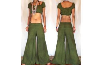 HIPPIE 70's BOHO GREEN LOWRISE PANTS TROUSERS P5 Image