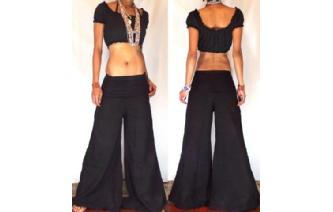 HIPPIE 70's BOHO GOTHIC LOWRISE PANTS TROUSERS P6 Image