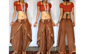 GYPSY BOHO HAREM BELLY DANC PANTS TROUSERS TOP H32 Image