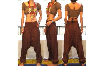 GYPSY HIPPIE SILK HAREM YOGA PANTS TROUSERS 12 H33 Image