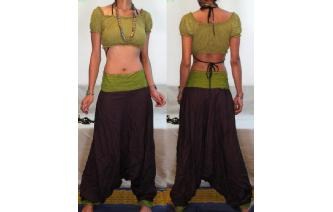 GYPSY BOHO INDIAN RAYON HAREM YOGA TROUSERS 14 H35 Image
