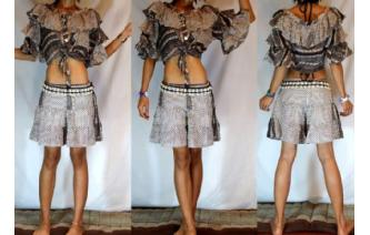 RUFFLE BELL SLV BELLY DANCE BOHO PANT TOP SET F27 Image