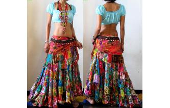 ETHNIC PATCHWORK FLAMENCO DANCE HIPPIE MAXI SKIRT Image
