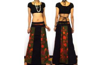 GYPSY BOHO HIPPY GOTH PANELED WRAP HIPPY SKIRT W52 Image