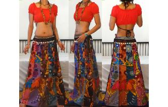 ETHNIC PANELED A LINE WRAP HIPPIE MAXI SKIRT W57 Image