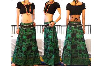 ETHNIC PANELED A LINE WRAP HIPPIE MAXI SKIRT W59 Image