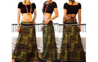 ETHNIC PANELED A LINE WRAP HIPPIE MAXI SKIRT W60 Image