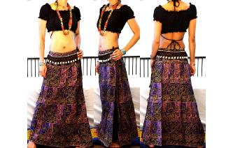 ETHNIC PANELED A LINE WRAP HIPPIE MAXI SKIRT W61 Image