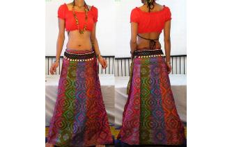 ETHNIC PANELED A LINE WRAP HIPPIE MAXI SKIRT W64 Image
