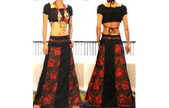 GYPSY BOHO HIPPY GOTH PANELED WRAP HIPPY SKIRT W70 Image