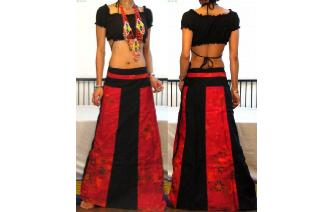 GYPSY BOHO HIPPY GOTH PANELED WRAP HIPPY SKIRT W76 Image