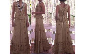 ETHNIC EMBROID PANELED HIPPIE MAXI SKIRT TOP SET Image