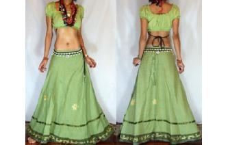 GYPSY BOHO EMBROIDER MIRRORS WRAP HIPPIE SKIRT W22 Image