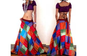 GYPSY BOHO HIPPY PATCHWORK WRAP HIPPIE SKIRT W26 Image
