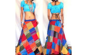 GYPSY BOHO HIPPY PATCHWORK WRAP HIPPIE SKIRT W28 Image