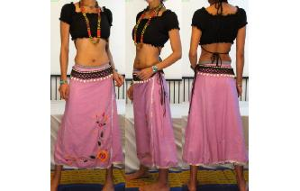 ETH EMBROIDERED CROCHET TRIM WRAP SHEER SKIRT N37 Image