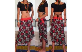 EHTNIC HIPPIE INDIAN GAUZE TIES WAIST GYPSY SKIRT Image