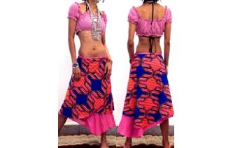 BOHO 2 LAYERS BATIK WRAP SUMMER HIPPIE SKIRT N11 Image
