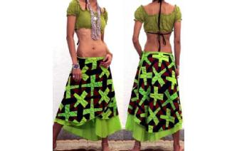 BOHO 2 LAYERS BATIK WRAP SUMMER HIPPIE SKIRT N16 Image