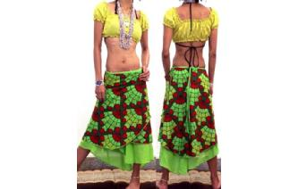 BOHO 2 LAYERS BATIK WRAP SUMMER HIPPIE SKIRT N17 Image