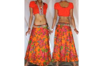 ETHNIC BRIGHT FLOWERS BOHO WARP HIPPIE SKIRT N20 Image