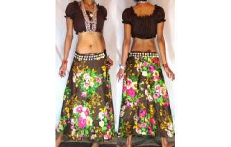 ETHNIC FLOWERS BOHO GYPSY WARP HIPPIE SKIRT N21 Image