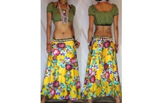 ETHNIC FLOWERS BOHO GYPSY WARP HIPPIE SKIRT N23 Image