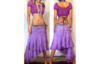 ETHNIC BOHO GYPSY CHEESECLOTH SIVER WRAP SKIRT N24 Image