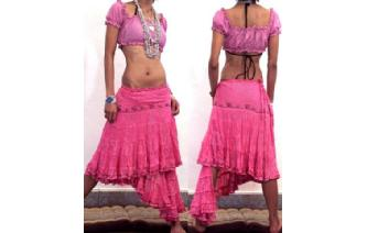 ETHNIC BOHO BELLY DANCE CHEESECLOTH WRAP SKIRT N28 Image