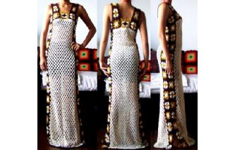 Vtg ETHNIC HANDS CROCHET NUDE LONG MAXI DRESS F1 Image