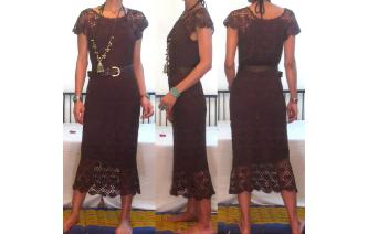 ETHNIC VINTAGE HAND CROCHET MAXI HIPPIE BOHO DRESS Image