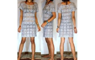 BOHO Vtg 70's HANDS CROCHET HIPPIE MINI DRESS F10 Image