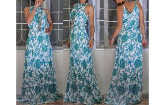 EETHNIC FLORALS LONG HIPPIE MAXI BOHO SHEERS DRESS Image