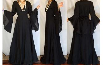 Vtg 70's ETHNIC WICCA VAMPIRE BUTTERFLY MAXI DRESS Image