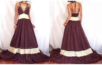 NEW Vtg BROWN BEIGE LACE EVENT GOWN PROM DRESS G14 Image
