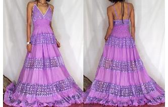 Vtg LILAC LACE COCKTAIL GOWN PROM MAXI DRESS M G15 Image