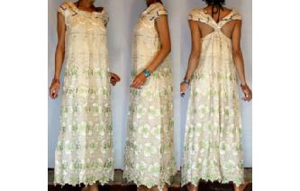 Vtg EMBROIDE CHIFFON LACE MAXI GOWN DRESS G19 Image
