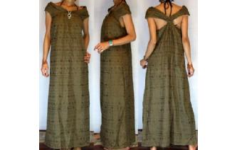 Vtg EMBROIDER EYELET COWL NECK MAXI GOWN DRESS G21 Image
