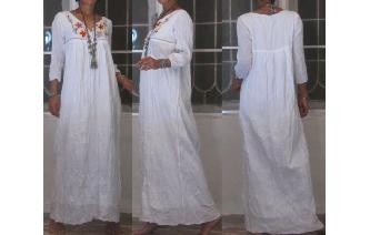 VTG BOHO MEXICAN WHITE EMBROIDERY MAXI DRESS M18 Image