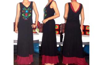 ETHNIC MEXICAN EMBROIDERY 2 LAYERS MAXI DRESS M20 Image