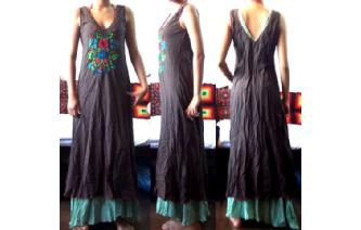 ETHNIC MEXICAN EMBROIDERY 2 LAYERS MAXI DRESS M21 Image